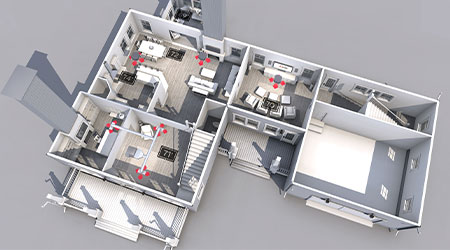 In this image we see a sketch of a home's floor plan, as we build a plan for duct work and air conditioner installation