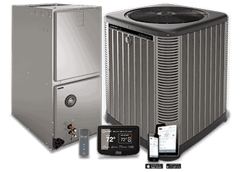 This is an image of a Ruud Heat Pump with an indoor air exchanger- Wi-Fi controlled