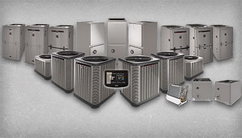 This is a picture of the full line of Ruud Split Air Conditioning Systems