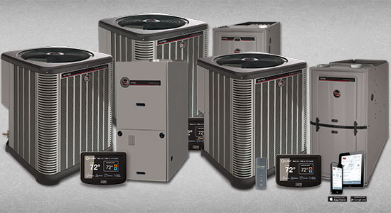This is an image of 3 of the different gas furnaces that Ruud Offers, along with the air handlers, remote controls, and wi-fi app