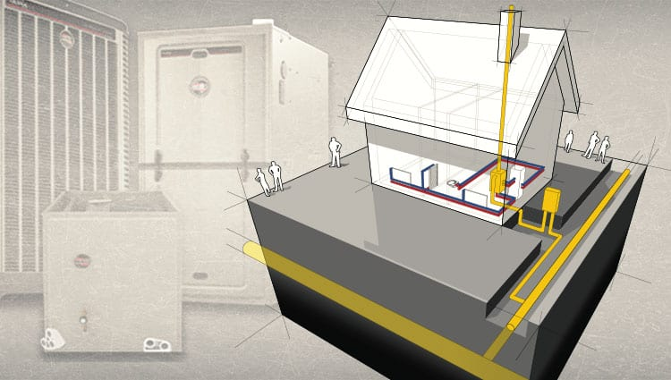 In this illustration, we see that natural gas is fed into the home, fed into the gas furnace, where the heating process is started when burners hit up a metal exchange.